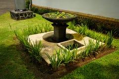 Härlig trädgård med fotoet för grönt gräs som och för vattenspringbrunn tas i Semarang Indonesien Royaltyfri Foto
