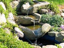 härlig trädgårds- home dammvattenfall Royaltyfri Foto