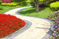 härlig trädgårds- sommarwalkway arkivfoton