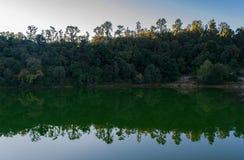 Härlig trädlinje och dess reflexion i Deoria Tal under soluppgång Royaltyfri Bild
