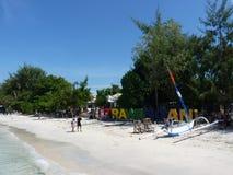 Härlig tropisk strand med vit sand i Gili Trawangan Royaltyfria Foton