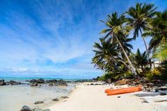 Härlig tropisk strand på den exotiska ön i Stillahavs- Fotografering för Bildbyråer