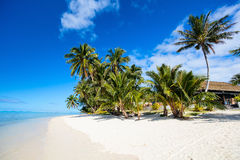 Härlig tropisk strand på den exotiska ön i Stillahavs- Arkivbilder