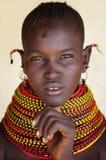 Härlig Turkana kvinna i Loyangalani, Kenya Arkivfoto