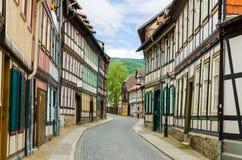 härlig tysk historisk gata arkivfoton