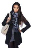 Härlig ung asiatisk kvinna i höstkläder Arkivbilder