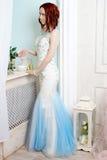 Härlig ung flicka i aftonklänningen som poserar på inre foto s Royaltyfri Bild