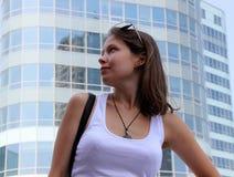 Härlig ung flicka i profil Arkivbilder