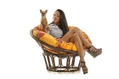 Härlig ung flicka med Chihuahuavalpen Royaltyfri Bild