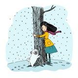 Härlig ung flicka och en gullig mops stock illustrationer