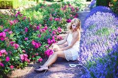 Härlig ung flicka som sitter nära blommande lavendel och rosor Royaltyfri Foto