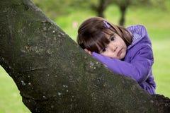 Härlig ung flicka som vilar på ett träd Arkivfoto