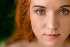 Härlig ung fräknig grönögd dam med rött hår royaltyfri bild