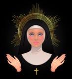 Härlig ung katolsk nunna med guld- gloria, öppna välsigna han vektor illustrationer