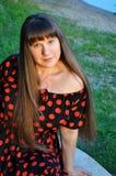 Härlig ung kvinna, brunett Arkivbilder