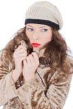 Härlig ung kvinna i ett lag Arkivfoto