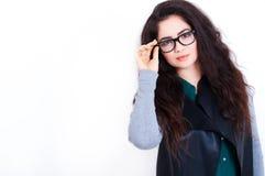 Härlig ung kvinna i exponeringsglas Arkivbilder