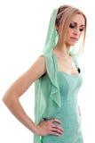 Härlig ung kvinna i klänning Arkivbilder