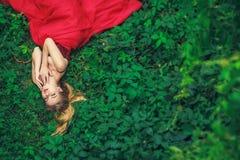 Härlig ung kvinna i röd klänning för mode Arkivfoto