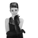 Härlig ung kvinna i retro stil Fotografering för Bildbyråer