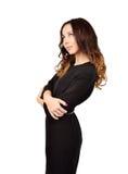Härlig ung kvinna i svart klänning Arkivfoton