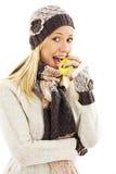 Härlig ung kvinna med äpplet. Vinterstil royaltyfri bild