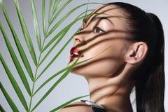 Härlig ung kvinna med den perfekta palmbladet för hudinnehavgräsplan Royaltyfria Bilder