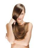 Härlig ung kvinna med långt blankt hår royaltyfri fotografi