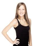 Härlig ung kvinna med långt blankt hår royaltyfria bilder