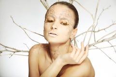 Härlig ung kvinna med stylezed facepaint Fotografering för Bildbyråer