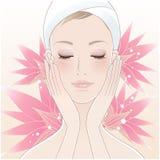 Härlig ung kvinna och lotusblomma vektor illustrationer