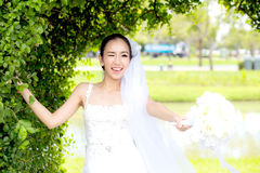 härlig ung kvinna på bröllopdag i den vita klänningen Arkivfoton