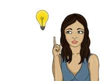 Härlig ung kvinna som är borttappad i tanke över idén Arkivfoto