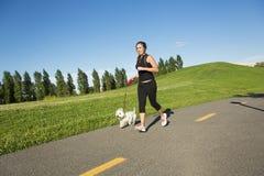 Härlig ung kvinna som joggar med hennes hund Arkivfoto