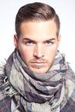 Härlig ung man med halsduken royaltyfria foton
