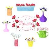 Härlig uppsättning av blommor i kulöra vaser, illustration stock illustrationer