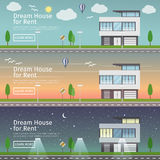 Härlig uppsättning av plana vektorrengöringsdukbaner på temat moderna Real Estate vektor illustrationer