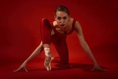Härlig uttrycksfull ballerina Fotografering för Bildbyråer