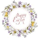 Härlig vårkrans av påskliljor och purpurfärgade blommor på en vit bakgrund stock illustrationer