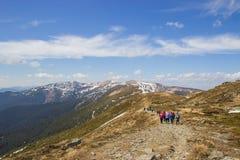 Härlig vårlandskapväg i Carpathians berg Royaltyfri Bild