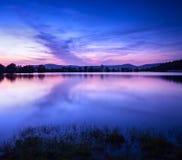Härlig vårnatt på dammet Arkivfoton