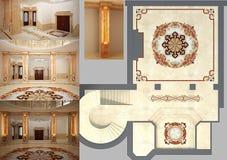Härlig vardagsrum med det mosaiska golvet Arkivbilder