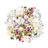 Härlig vattenfärgbukett med vanliga hortensian, vildblommor och bär saskatoon Fotografering för Bildbyråer
