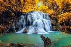 Härlig vattenfall i höst Fotografering för Bildbyråer