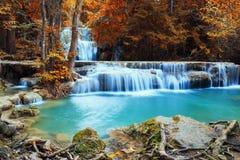 Härlig vattenfall i höst Arkivfoton