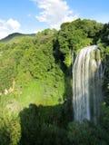 Härlig vattenfall på den gröna kullen Arkivbilder