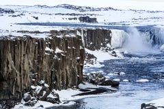 Härlig vattenfall Selfoss i Island arkivfoton
