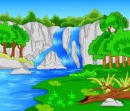Härlig vattenfall som isoleras på viten Arkivbild