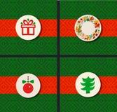 härlig vektor för juldesignillustration Feriegränsuppsättning Julsymbolsamling stock illustrationer