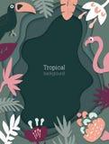 Härlig vektorbakgrund med tropiska sidor och fåglar på efterföljd av multilayer klippt papper royaltyfri illustrationer